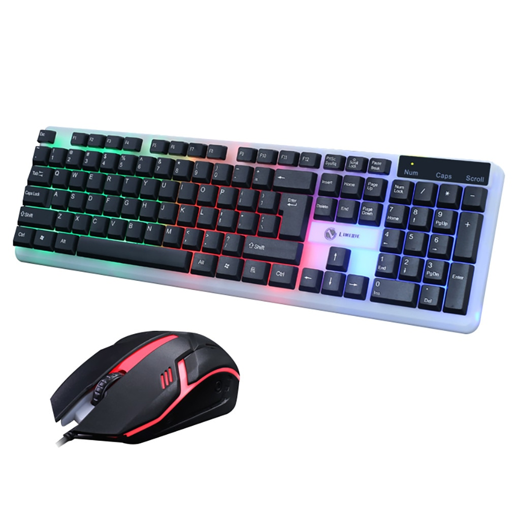 Gaming Keyboard and Colorful Optical Mouse Set 3 Colors LED Backlit Illuminated
